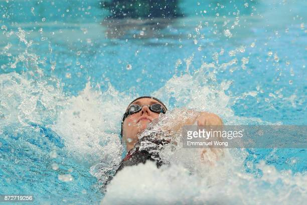 Katinka Hosszu of Hungary competes in the Women's 50m backstroke on day two of the FINA swimming world cup 2017 at Water Cube on November 11 2017 in...