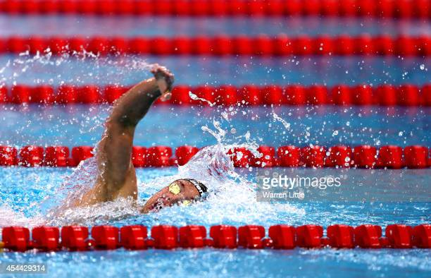 Katinka Hosszu of Hungary en route to winning the final of the Women's 200m Individual Medley with a World Record time of 2:02:13 during the FINA...