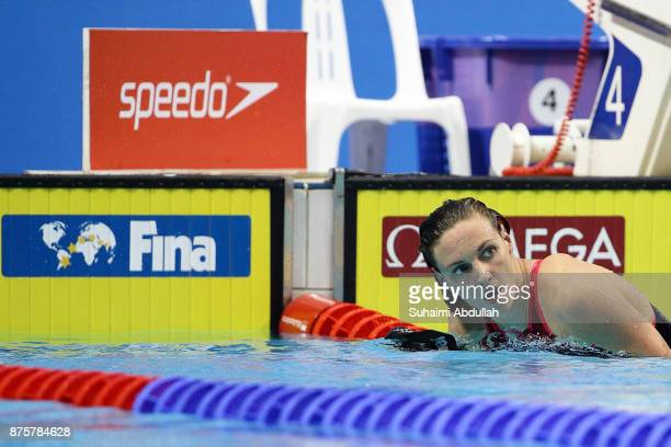 Katinka Hosszu of Hungary looks on after competing in the women's 200m Individual Medley final during the FINA Swimming World Cup at OCBC Aquatic...