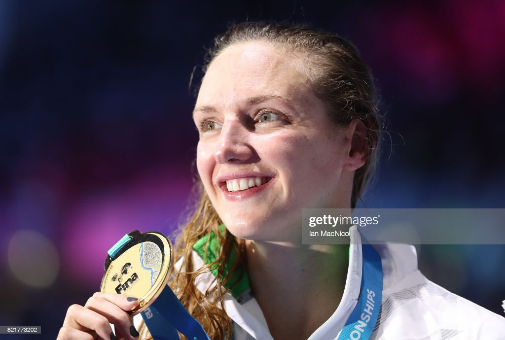 Katinka Hosszu of Hungary poses with her gold medal from the final of Women's 200m IM on day eleven of the FINA World Championships at the Duna Arena on July 24, 2017 in Budapest, Hungary.