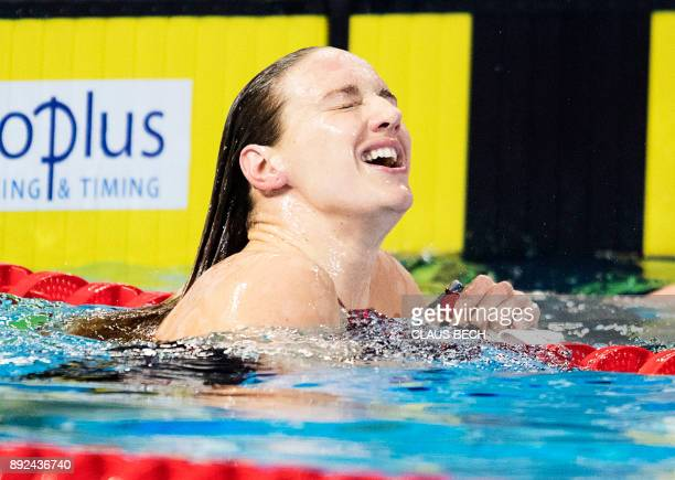 Katinka Hosszu of Hungary reacts after the 100m Breaststroke final at the LEN European Short Course Swimming Championships at the Royal Arena in...