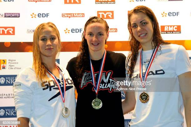 Katinka Hosszu of Hungary winner of women's 400 m freestyle, Alizee Morel of France and Francesca Cristetti of Italy during the Meeting of Nice,...