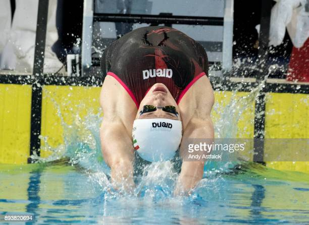 Katinka Hosszu of Hungry during the Women's 50m Backstroke Heats on December 16 2017 in Copenhagen Denmark