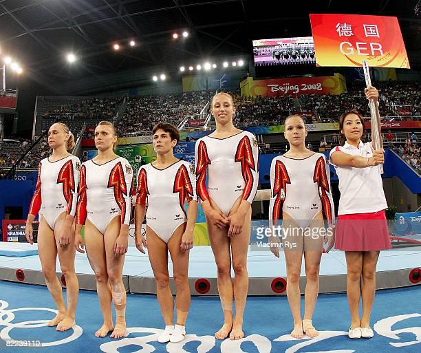 Katja Abel Daria Bijak Oksana Chusovitina MarieSophie Hindermann and Joeline Moebius of the women's gymnastics team from German are introduced prior...