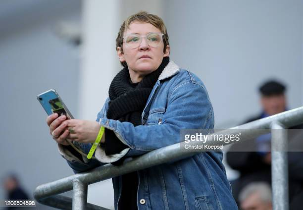 Katja Baumgart wife of head coach Steffen Baumgart of Paderborn looks on prior to the Bundesliga match between SC Paderborn 07 and Hertha BSC at...
