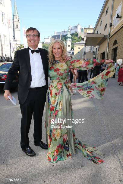 """Katja Burkard and Hans Mahr arrive for the premiere of """"Elektra"""" during the opening of the Salzburg Festival 2020 at Salzburg State Theatre on August..."""