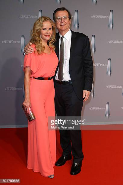 Katja Burkard and Hans Mahr attend the German Television Award at Rheinterrasse on January 13 2016 in Duesseldorf Germany