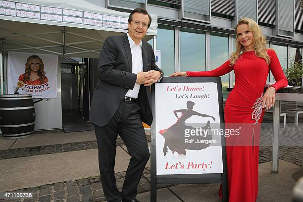 Katja Burkard and Hans Mahr attend the party of Katja Burkard, who celebrates her 50th Birthday at Vintage-Restaurant on April 25, 2015 in Cologne,...