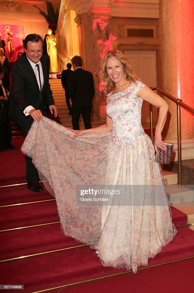 Katja Burkard and her husband Hans Mahr during the 27th ROMY Award 2015 at Hofburg Vienna on April 16, 2016 in Vienna, Austria.