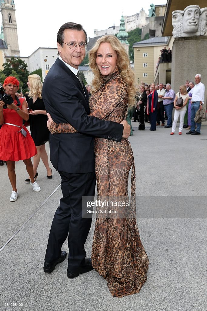 Katja Burkard and her husband Hans Mahr during the opera premiere 'The Exterminating Angel' on July 28, 2016 in Salzburg, Austria.