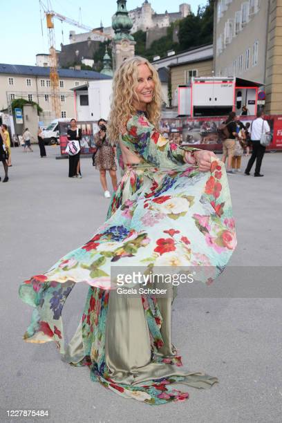 """Katja Burkard arrives for the premiere of """"Elektra"""" during the opening of the Salzburg Festival 2020 at Salzburg State Theatre on August 1, 2020 in..."""