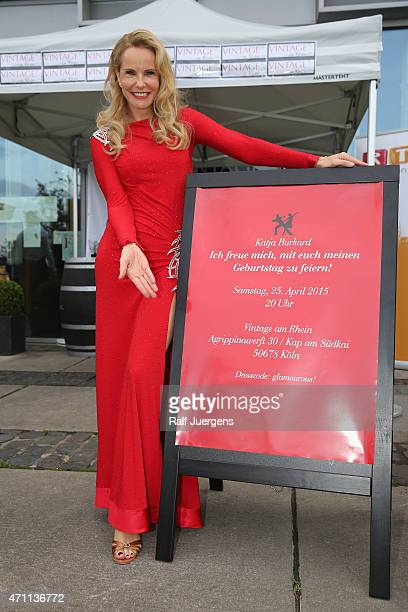 Katja Burkard attends her party, who celebrates her 50th Birthday at Vintage-Restaurant on April 25, 2015 in Cologne, Germany.