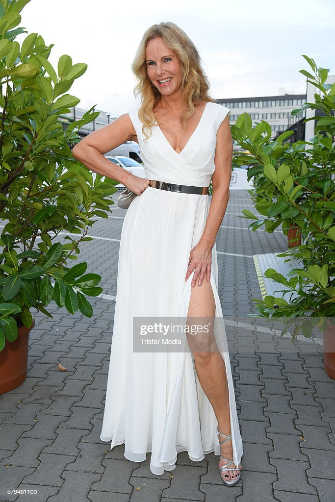 Katja Burkard attends the Unique show during Platform Fashion July 2016 at Areal Boehler on July 23, 2016 in Duesseldorf, Germany.