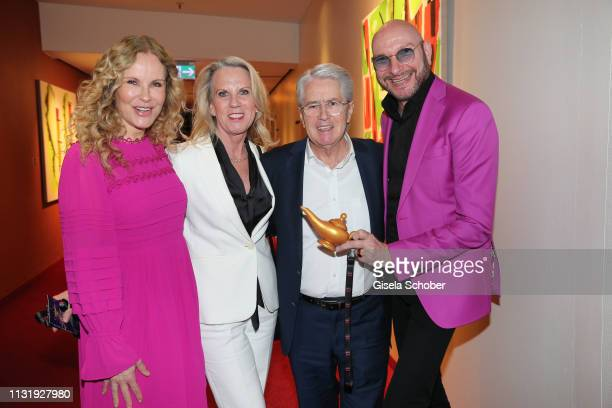 Katja Burkard Frank Elstner and his wife Britta and Ralph Morgenstern during the premiere of the musical Aladdin at Stage Apollo Theater on March 21...