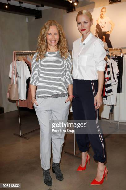 Katja Burkard wearing Franziska Knuppe's collection and Franziska Knuppe during the presentation of her new Spring/Summer 2018 collection for Bonita...