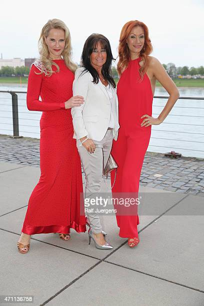 Katja Burkard Yasmina Filali and Manuela Maske attend the party of Katja Burkard who celebrates her 50th Birthday at VintageRestaurant on April 25...