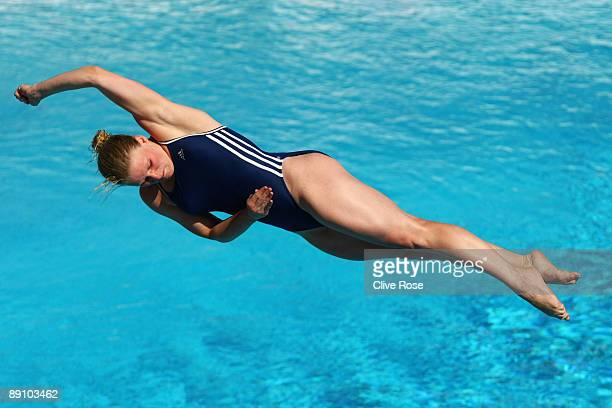Katja Dieckow of Germany competes in the Women's 1m Springboard Final at the Stadio del Nuoto on July 19 2009 in Rome Italy
