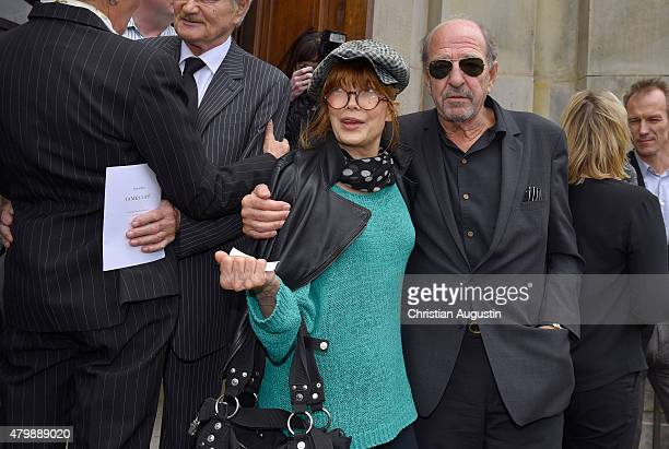 Katja Ebstein and Ralph Siegel attend the funeral service for the deceased composer and big band leader James Last at St Michaelis Kirche on July 8...