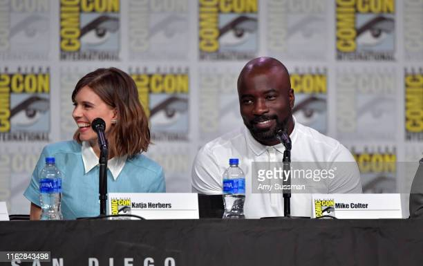 Katja Herbers and Mike Colter speak at the Evil exclusive screening and panel during 2019 ComicCon International at San Diego Convention Center on...