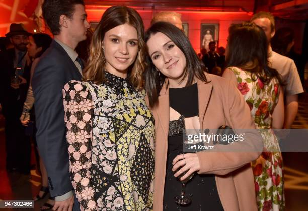 Katja Herbers and Shannon Woodward attend the Los Angeles Season 2 premiere of the HBO Drama Series WESTWORLD at The Cinerama Dome on April 16 2018...