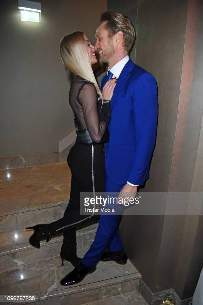Katja Kalugina and Nico Schwanz attend the Lausbubenparty during the 69th Berlinale International Film Festival at Hotel Waldorf Astoria on February...
