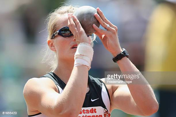 Katja Keller of Germany compete in the shotput event in the Heptathlon during the Erdgas Track and Field Meeting on June 21, 2008 in Ratingen,...