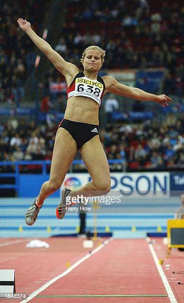 Katja Keller of Germany in action during the Womens Long Jump Pentathlon during the 9th IAAF World Indoor Athletics Championships at the National...