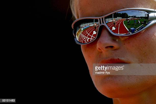 Katja Keller of Germany looks on the track before the 800m run during the Erdgas Track and Field Meeting on June 26, 2005 in Ratingen, Germany.