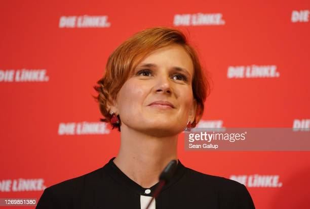 Katja Kipping and Bernd Riexinger , co-leaders of the leftist Die Linke political party, speak to the media following their recent announcement that...