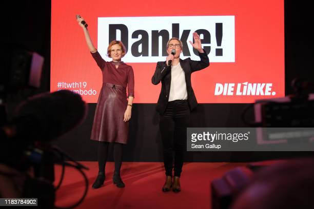 Katja Kipping and Susanne Hennig-Wellsow of the left-wing Die Linke party speak to party supporters after initial results gave the party a strong...