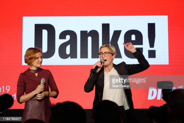 Katja Kipping and Susanne HennigWellsow of the leftwing Die Linke party speak to party supporters after initial results gave the party a strong first...