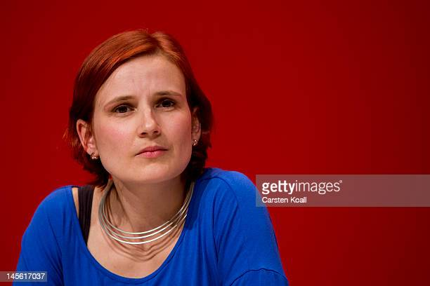 Katja Kipping candidate for the newly coleader of the German farleft party Die Linke attend at the partys annual congress on June 2 2012 in...