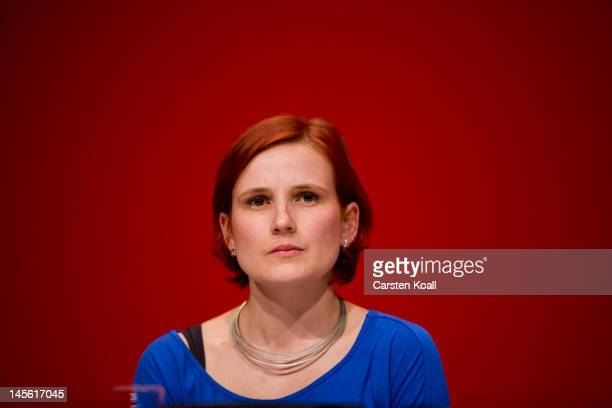 Katja Kipping candidate for the newly coleader of the German farleft party Die Linke attend the partys annual congress on June 2 2012 in Goettingen...