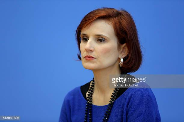 Katja Kipping, Chairwoman of the German left-wing party Die Linke, speaks to the media on March 14, 2016 in Berlin, Germany. Voters went to the polls...