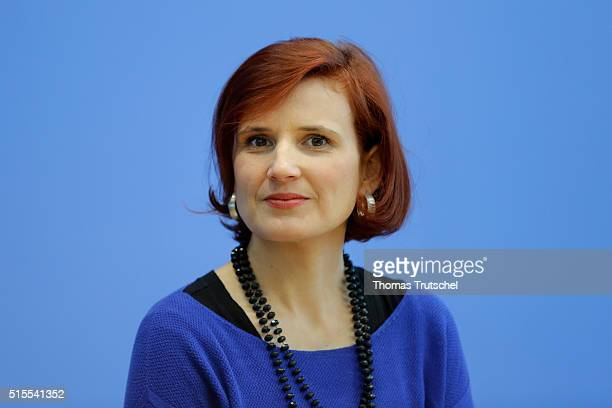 Katja Kipping Chairwoman of the German leftwing party Die Linke speaks to the media on March 14 2016 in Berlin Germany Voters went to the polls...