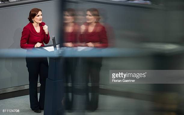 Katja Kipping coChairwoman of the German leftwing party Die Linke speaks during the meeting of the Bundestag on February 18 2016 in Berlin