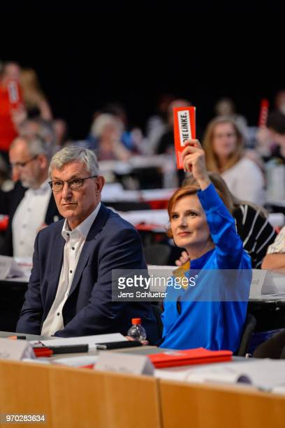 Katja Kipping coleader of Die Linke and Bernd Rixinger coleader of the Die Linke attend the Die Linke federal party congress on June 9 2018 in...
