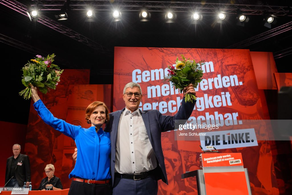 Katja Kipping, co-leader of Die Linke, and Bernd Rixinger, co-leader of the Die Linke, react after their election as the new party chairman at the Die Linke federal party congress on June 9, 2018 in Leipzig, Germany. Die Linke, Germany's left-wing party that includes a spectrum of leftists to communists, has been wrought by inner quarrels that have threatened to divide the party.