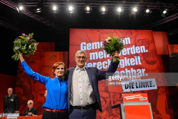 Katja Kipping coleader of Die Linke and Bernd Rixinger coleader of the Die Linke react after their election as the new party chairman at the Die...