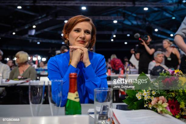 Katja Kipping coleader of Die Linke reacts after her election as one of two new party chairman at the Die Linke federal party congress on June 9 2018...