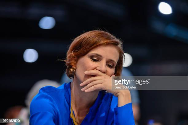 Katja Kipping coleader of Die Linke reacts after their election as one of two new party chairman at the Die Linke federal party congress on June 9...