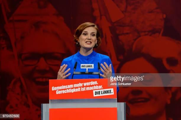 Katja Kipping coleader of Die Linke speaks to delegates at the Die Linke federal party congress on June 9 2018 in Leipzig Germany Die Linke Germany's...