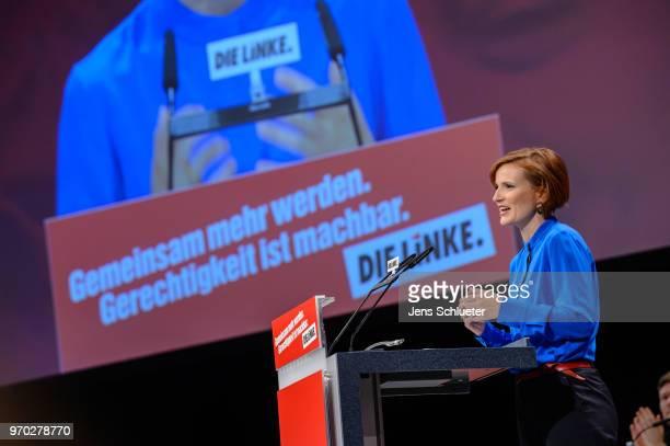 Katja Kipping coleader of Die Linke speaks to the delegates at the Die Linke federal party congress on June 9 2018 in Leipzig Germany Die Linke...