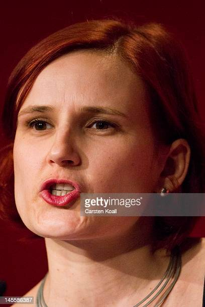 Katja Kipping vicehead of the farleft party Die Linke speaks at the party's annual congress on June 2 2012 in Goettingen Germany Party members will...