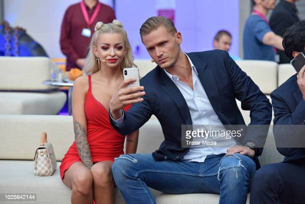 Katja Krasavice and Pascal Behrenbruch during the finals of Promi Big Brother 2018 at MMC Studios on August 31 2018 in Cologne Germany