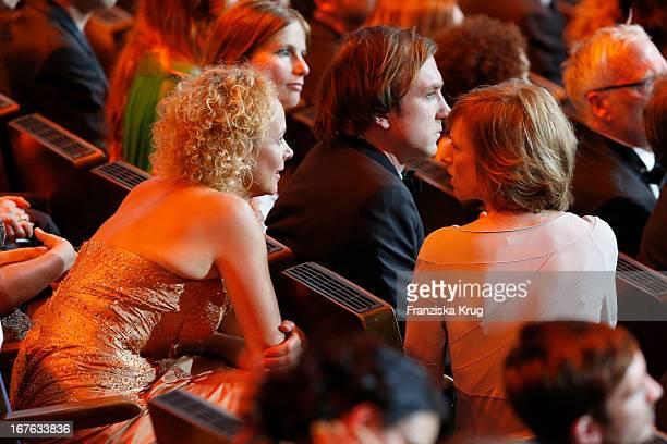 Katja Riemann and Corinna Harfouch attend the Lola German Film Award 2013 at FriedrichstadtPalast on April 26 2013 in Berlin Germany
