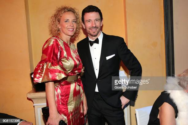 Katja Riemann and Oliver Berben during the German Film Ball 2018 party at Hotel Bayerischer Hof on January 20 2018 in Munich Germany
