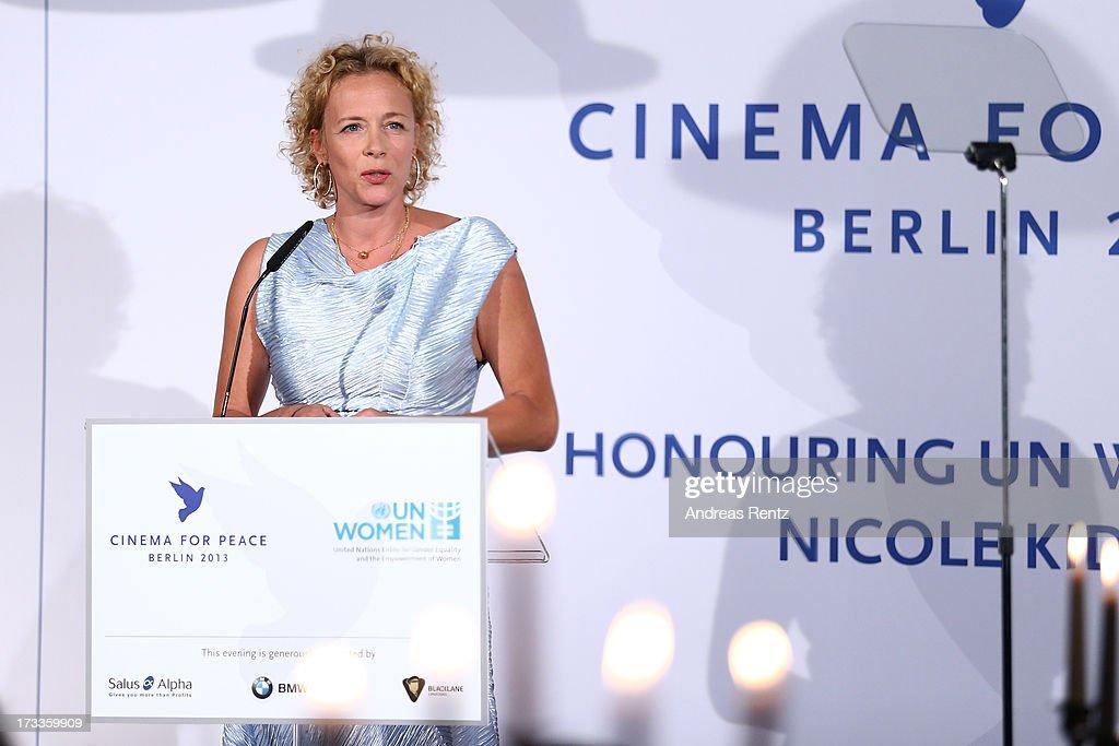 Katja Riemann attends the Cinema for Peace UN women charity dinner at Soho House on July 12, 2013 in Berlin, Germany.