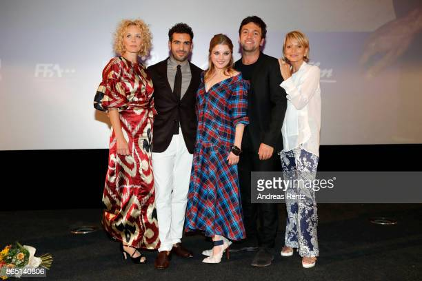 Katja Riemann Elyas M'Barek Jella Haase Bora Dagtekin and Uschi Glas are seen on stage at the 'Fack ju Goehte 3' premiere at Mathaeser Filmpalast on...