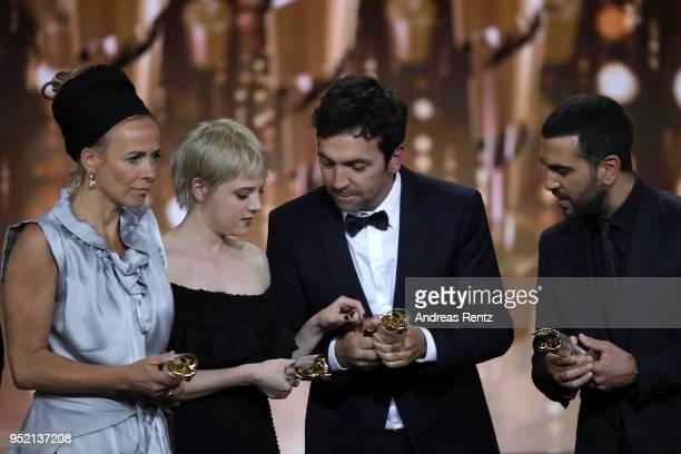 Katja Riemann Jella Haase Bora Dagtekin and Elyas M'Barek accept the award 'Biggest Movie Audience' for the film 'Fack ju Goehte' on stage during the...
